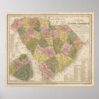 New Map Of South Carolina 2 Poster