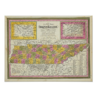 New Map Of Tennessee Poster