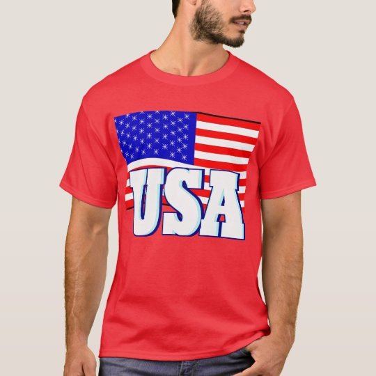 New Men's Red T-shirt Red White & Blue USA Flag