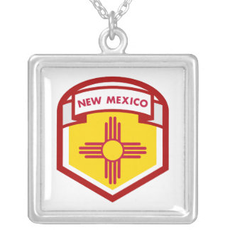 NEW MEXICIO STATE FLAG zazzle Silver Plated Necklace
