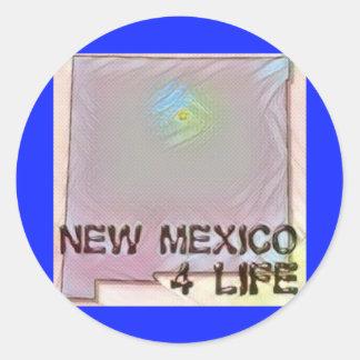 """New Mexico 4 Life"" State Map Pride Design Classic Round Sticker"