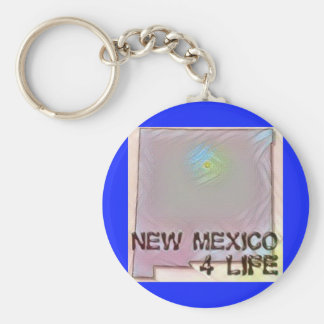 """""""New Mexico 4 Life"""" State Map Pride Design Keychain"""