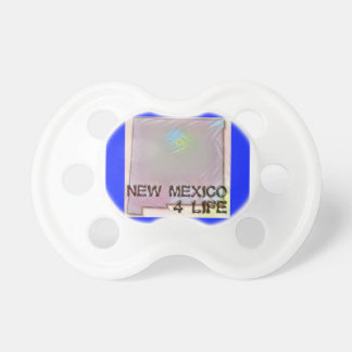 """New Mexico 4 Life"" State Map Pride Design Pacifier"