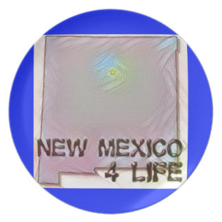 """""""New Mexico 4 Life"""" State Map Pride Design Plate"""
