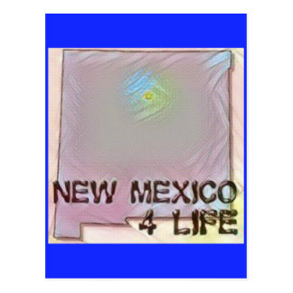 """New Mexico 4 Life"" State Map Pride Design Postcard"