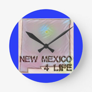 """New Mexico 4 Life"" State Map Pride Design Round Clock"