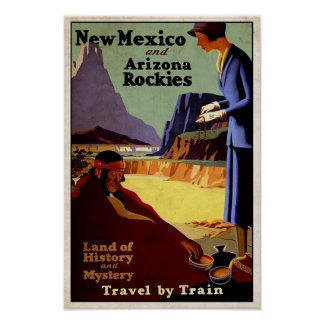 New Mexico and Arizona Rockies vintage poster
