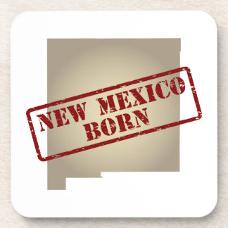 New Mexico Born - Stamp on Map Beverage Coasters