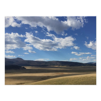 New Mexico Bright Blue Sky and Mountains Poster