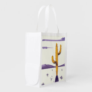 New Mexico Cactus vintage style vacation poster. Reusable Grocery Bag
