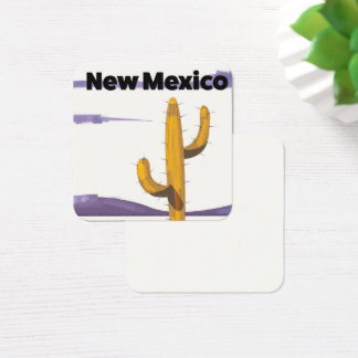 New Mexico Cactus vintage style vacation poster. Square Business Card