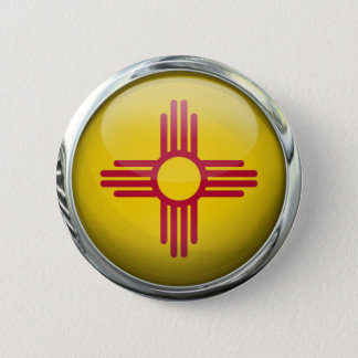 New Mexico Flag Glass Ball 2 Inch Round Button