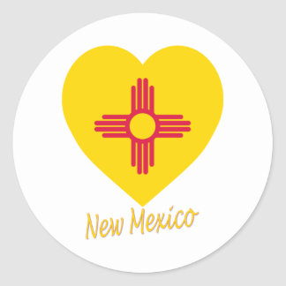 New Mexico Flag Heart Classic Round Sticker