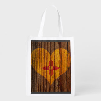 New+Mexico Flag Heart on Wood theme Reusable Grocery Bag