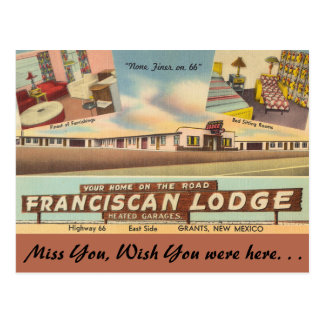 New Mexico, Franciscan Lodge, Grants Postcard