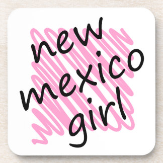 New Mexico Girl with Scribbled New Mexico Map Beverage Coaster