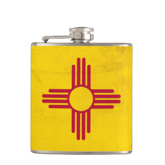 New Mexico Grunge- Zia Sun Symbol Hip Flask