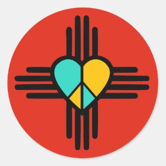 New Mexico, Love, Peace Round Sticker