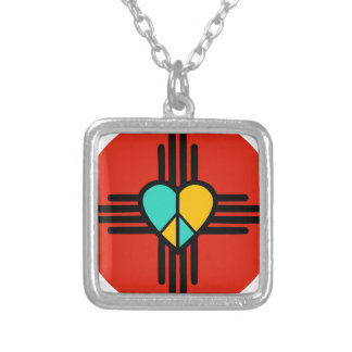 New Mexico, Love, Peace Silver Plated Necklace