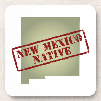 New Mexico Native Stamped on Map Drink Coasters