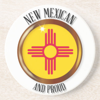 New Mexico Proud Flag Button Coasters