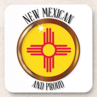 New Mexico Proud Flag Button Drink Coasters