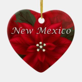 New Mexico Red Poinsettia Heart  Keepsake Ornament