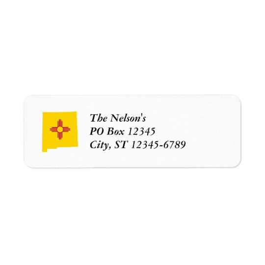 New Mexico Shape Return Address Label