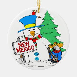 New Mexico Snowman Ceramic Ornament