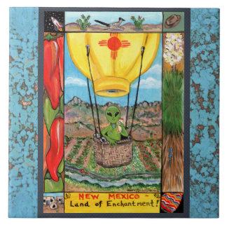New Mexico Souvenir Alien Balloon Zia Tile Trivet