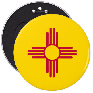 New Mexico State Flag 6 Inch Round Button