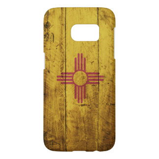 New Mexico State Flag on Old Wood Grain Samsung Galaxy S7 Case