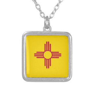 New Mexico State Flag Silver Plated Necklace