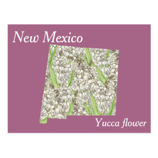 New Mexico State Flower Collage Map Postcard