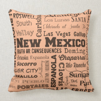 New Mexico typography throw pillow in clay & black