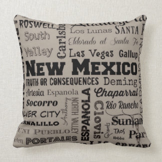 New Mexico typography throw pillow in gray & black