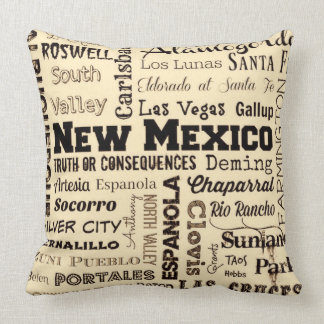 New Mexico typography throw pillow in yellow