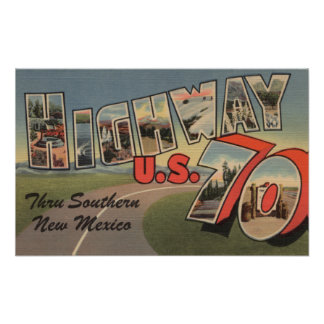 New Mexico - U.S. Highway 70 - Large Letter Print