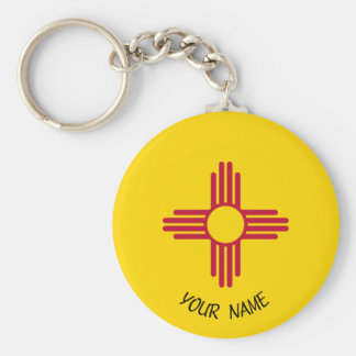 New Mexico Zia Sun Keychain ID Tag YOUR NAME