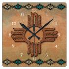 New Mexico Zia (sun) Square Wall Clock