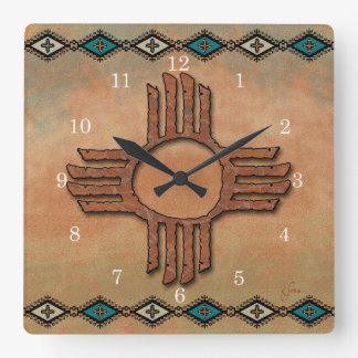 New Mexico Zia (sun) Square Wall Clock