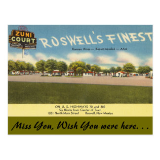 New Mexico, Zuni Court, Roswell Postcard