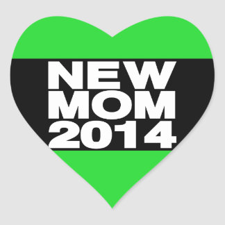 New Mom 2014 Lg Green Heart Sticker