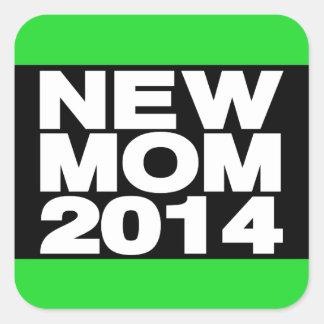 New Mom 2014 Lg Green Square Sticker