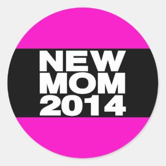 New Mom 2014 Lg Pink Round Sticker
