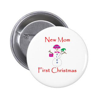 New Mom First Christmas Pinback Button
