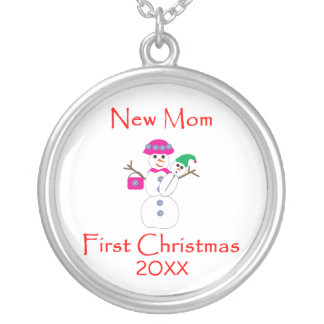 New Mom First Christmas Round Pendant Necklace