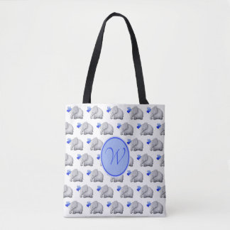 New Mom's Monogram Elegant Baby Elephants Diaper Tote Bag