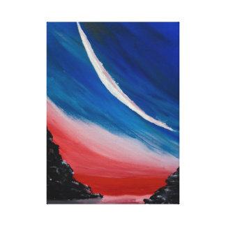 New Moon Over Water Original Art Canvas Print