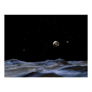 New Moons Around Pluto Poster